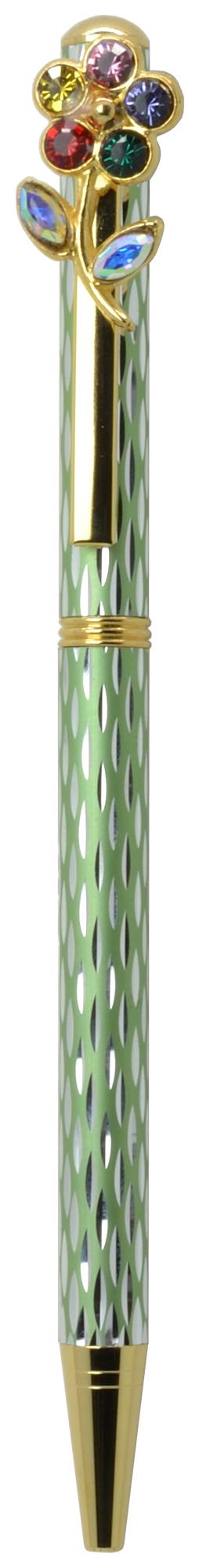 スワロフスキークリスタルボールペン カラフルフラワー グリーン <br>No.65573