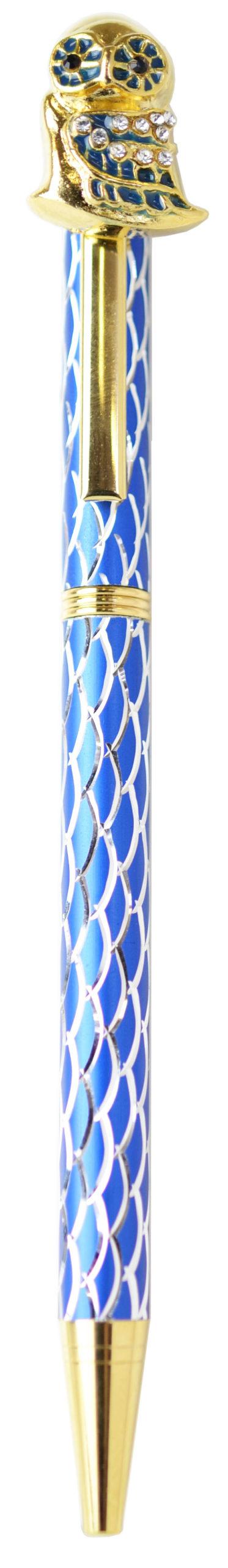 スワロフスキークリスタルボールペン フクロウ2 ブルー <br>No.65367
