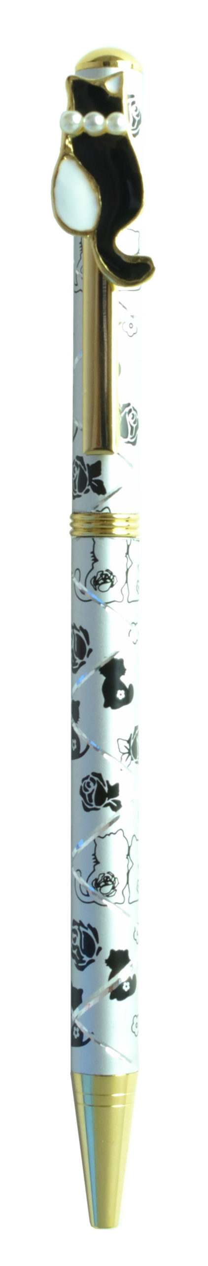 パール付きボールペン ネコ4 シルバー <br>No.65410
