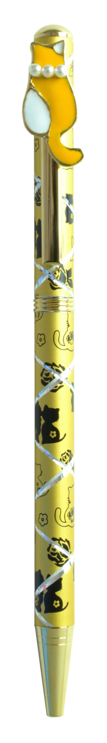 パール付きボールペン ネコ4 イエロー <br>No.65412