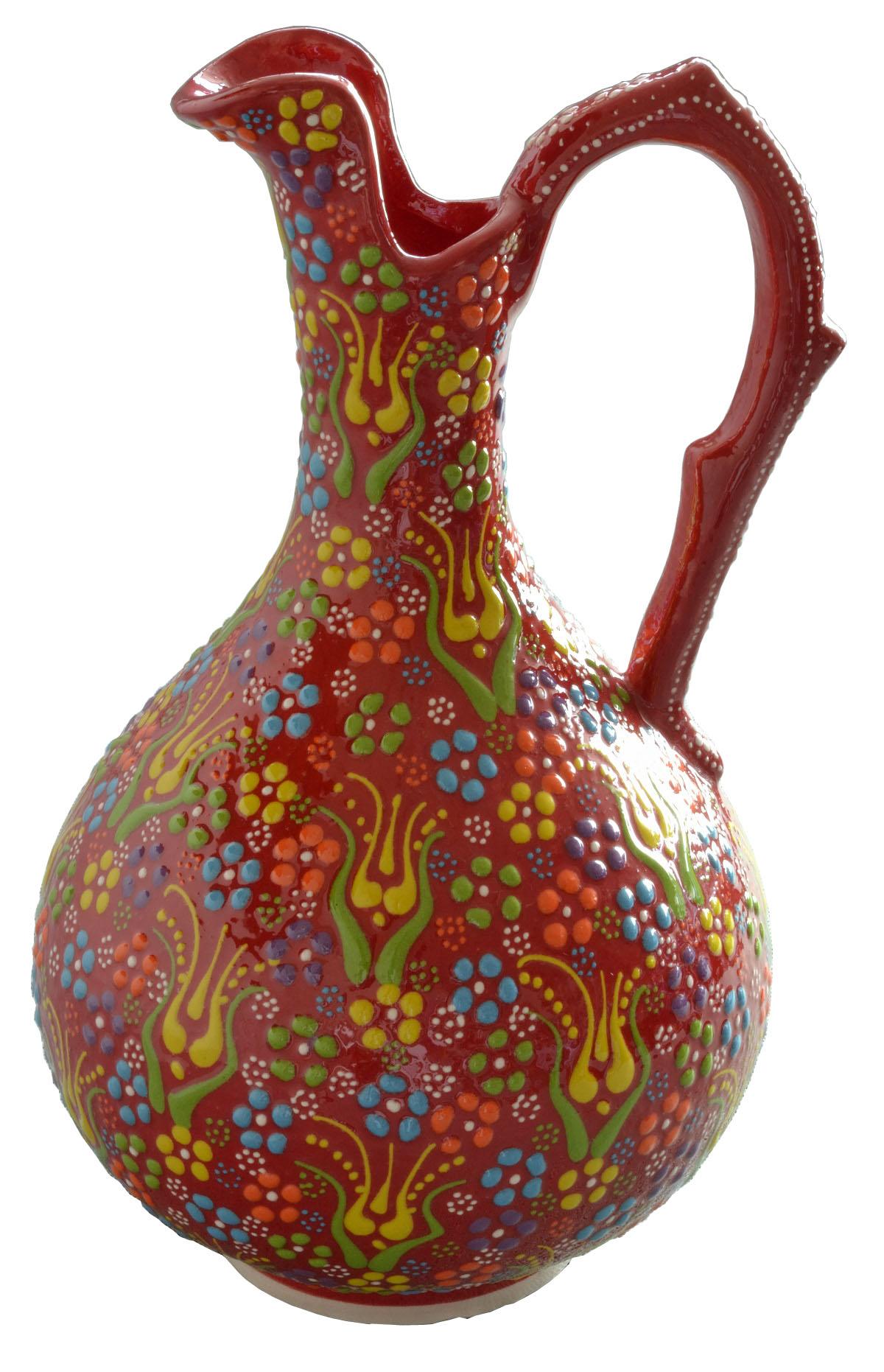トルコ製陶器 ラウンドベースL アンカラレッド <br>No.81511