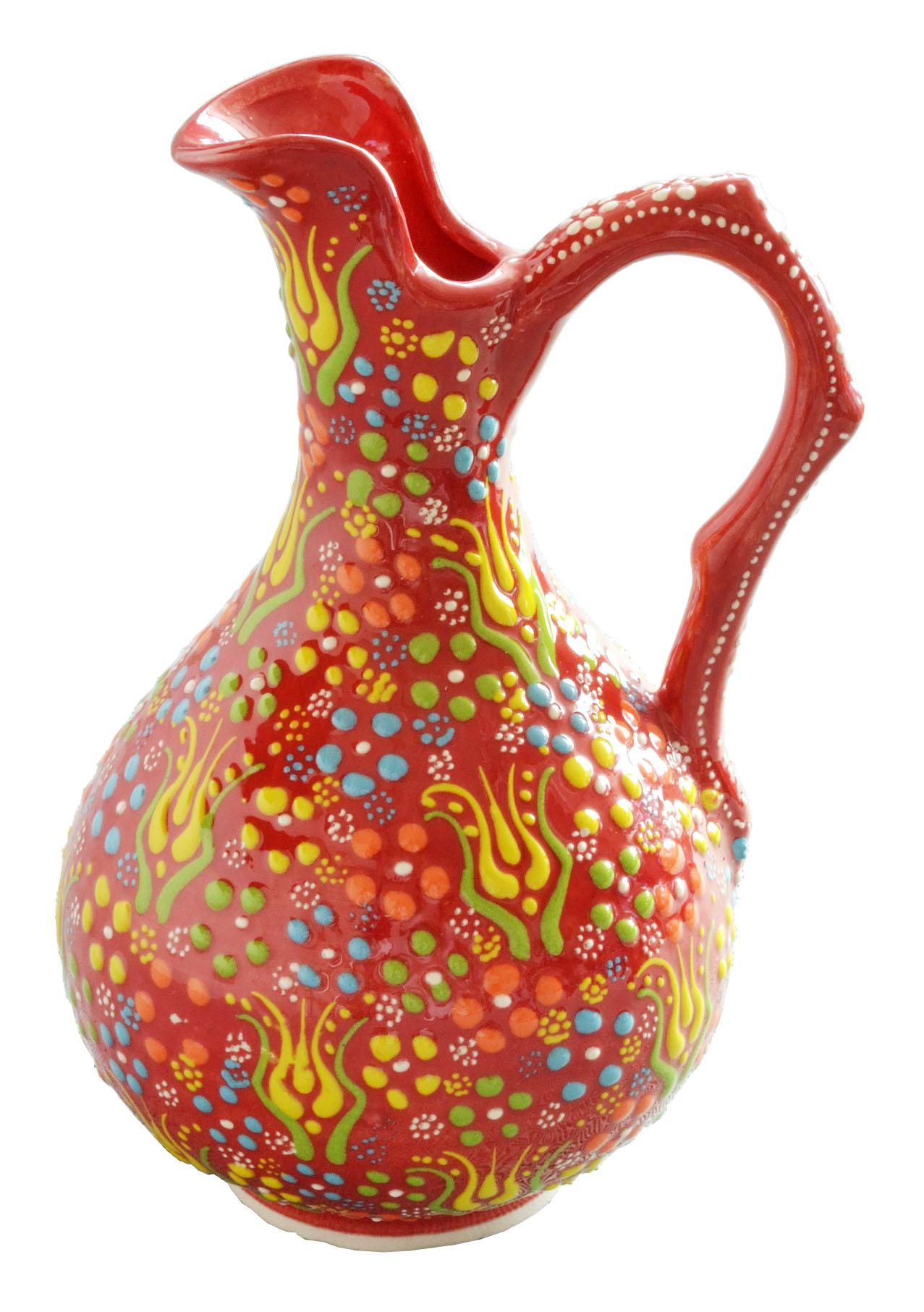 トルコ製陶器 ラウンドベースS アンカラレッド <br>No.81513