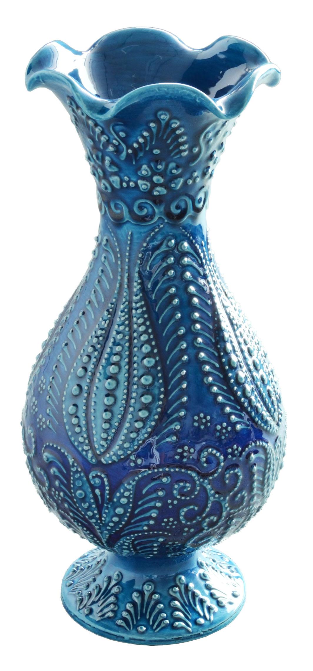 トルコ製陶器 ベースL イスタンブールブルー <br>No.81514