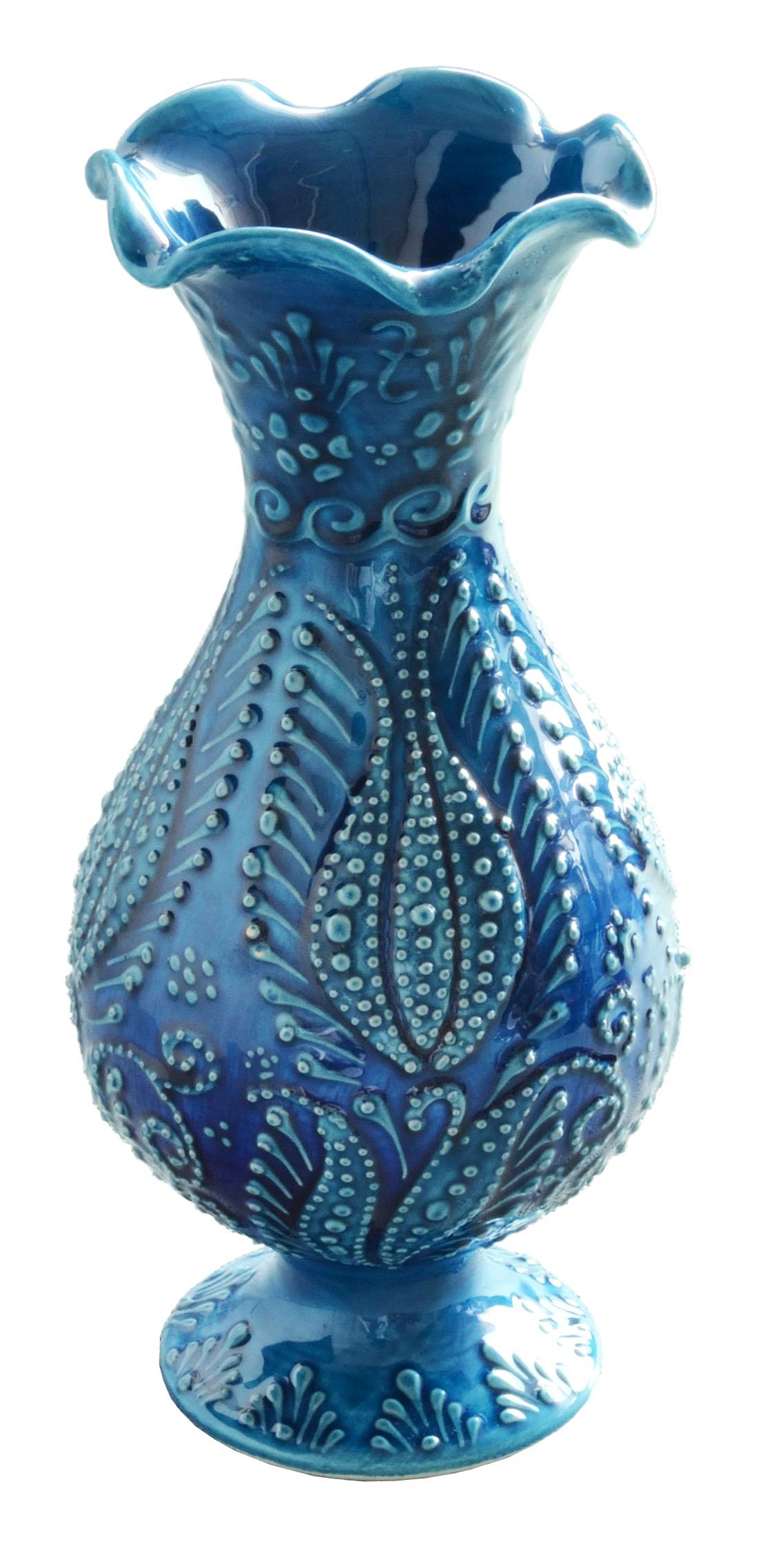 トルコ製陶器 ベースS イスタンブールブルー <br>No.81516