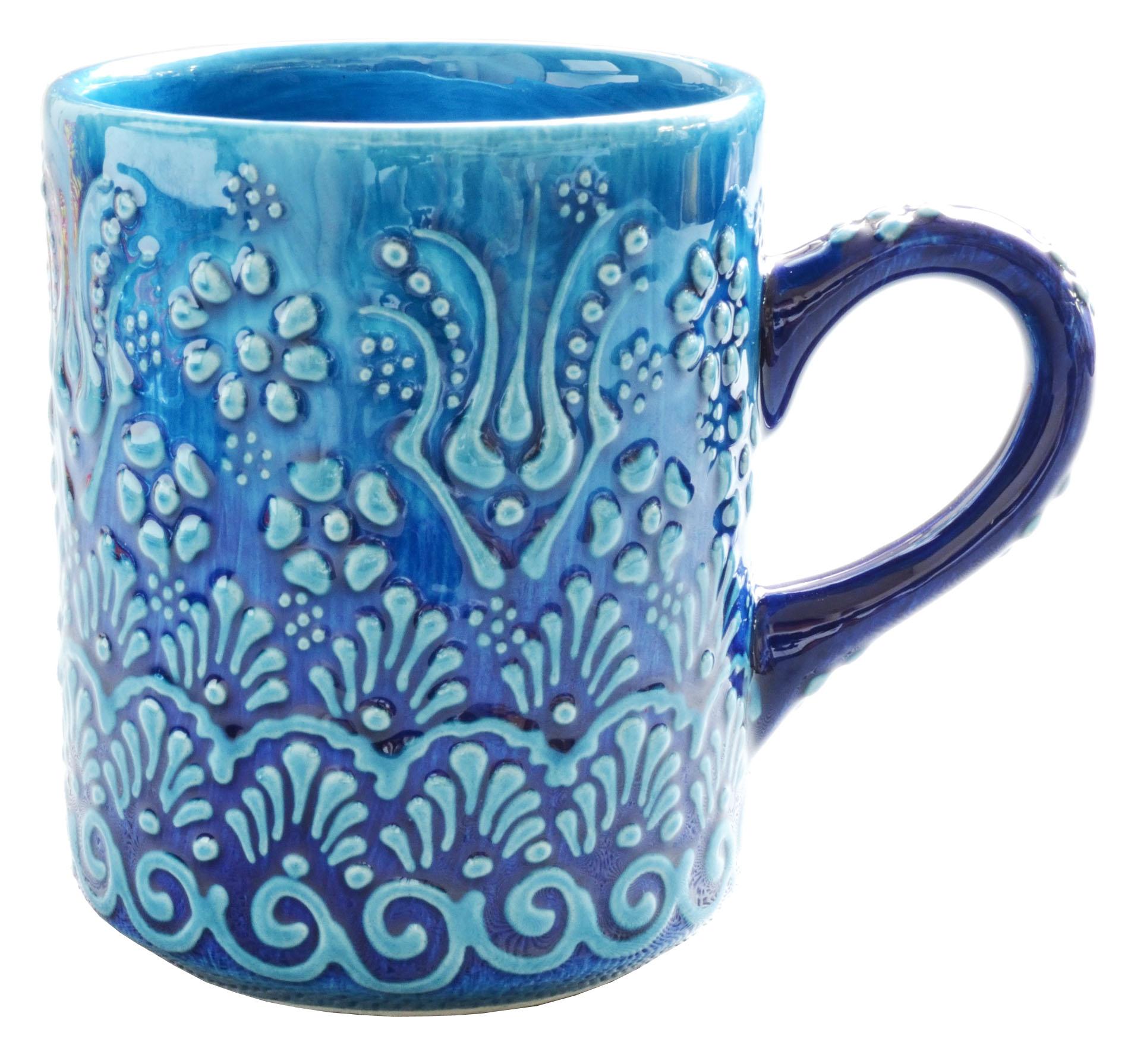 トルコ製陶器 マグカップ イスタンブールブルー <br>No.81530