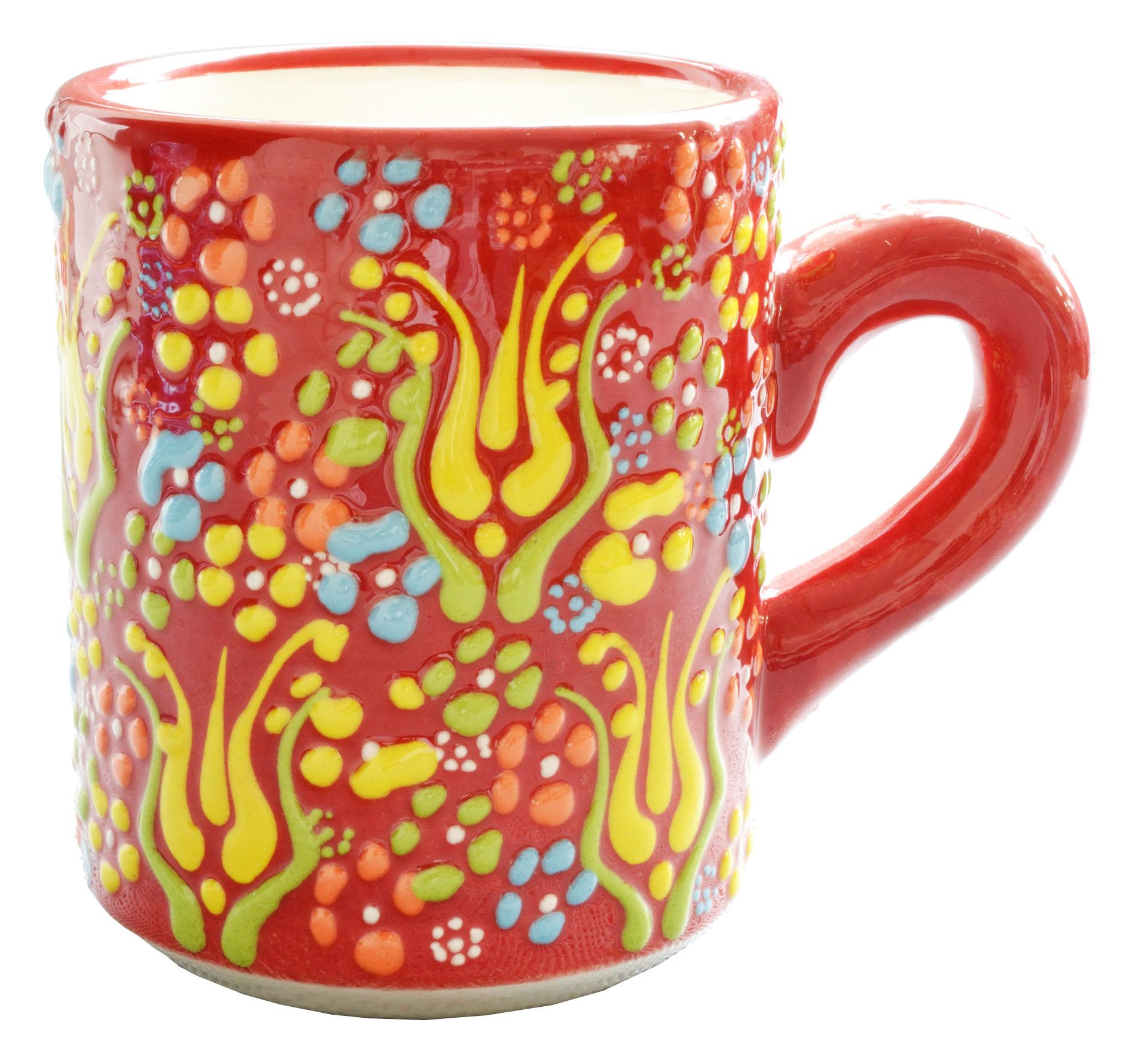 トルコ製陶器 マグカップ アンカラレッド <br>No.81531