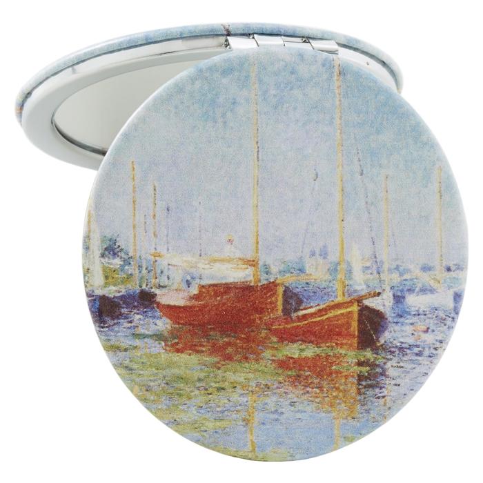 コンパクトミラー 名画シリーズ モネ『アルジャントゥイユの赤いボート』 ラウンド <br>No.73634