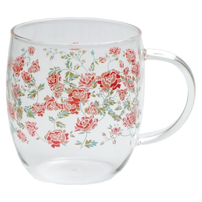 耐熱ガラスマグカップ レッドローズ <br>No.56190